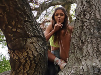Horny Chick On A Tree