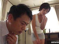 Pretty Asian babe Hasumi gets intimate with elder man