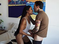 Ebony long legged cowgirl Kira Noir gives dude a blowjob 69