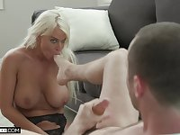 Hardcore fucking in all holes of blonde mature London River