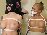 Kinky women with big tits got tied up while completely naked, because it excites them a lot