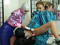 Glamour ladies enjoy playing with latex and a couple of vibrators