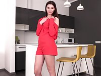 Cutest young housewife Michelle Valentine is jilling her pussy right on the table