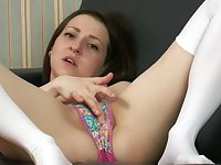 This babe's look is girl next door sexy and does she love masturbating