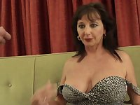 Horny mature slut Rebecca1 pokes her cunt with a dildo and gets fucked