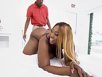 Giant breasted black BBW Victoria Cakes is hammered by black hunks