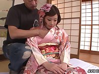 Geisha in kimono Kana Endo is fucked by several men after blowbang