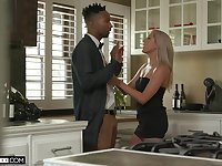 Tall white babe Paisley Bennett gets a mouthful of cum after crazy sex with her black lover