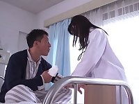 Hardcore fucking on the bed with Japanese nurse Tsukasa Aoi