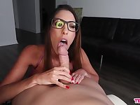 Aroused babe sucks dick and waits for cum on her glasses