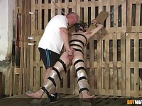Master Sebastian Kane tortures sub Chase Parker as he's bound to a cross