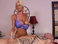 Awesome handjob from talented blonde masseuse Olivia Blu