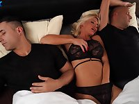 Wife Amirah Adara pleasures her lover and her husband at the same time