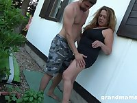 Obsessed with sex granny enjoys sneaky sex with young gardener
