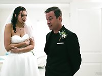 Wedding day banging for beautiful brunette bride Bella Rolland