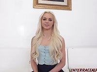 Elsa Jean is doing it with two black guys at the same time in her living room