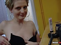 Boyfriend doesn't turn off the camera while recording her during her naked makeup session.