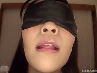 Blindfolded Minano Ai surprised with a hardcore sex on the bed