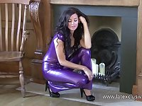 Sexy latex brunette has a really juicy booty worth checking out