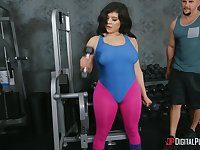 Aroused MILF with big ass, insane gym training with a big dong