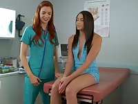 Girl on girl action between a doctor and a patient - Avi and Jayden