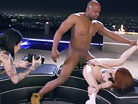 Erotic interracial fucking between a BBC and redhead Lola Fae