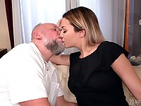Beauty Bianca Booty gets messy facial after crazy sex with senior