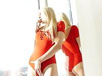 Hot blonde in red underwear Kristen Clover is finger fucking wet pussy