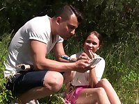 Outdoors fucking with small tits girlfriend Baby Shine. HD video