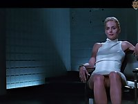 Basic instinct star Sharon Stone flashes her pussy in a famous scene