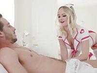 Sexy girlfriend in sexy nurse uniform Natalia Queen is making love with her boyfriend