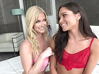 Lovely blondie gives a cunnilingus to charming brunette Zoe Bloom
