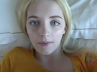 Adorable blonde babe with blue eyes, Kate Bloom did her best to make her roommate cum