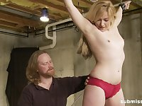 Small tits blondie Lilly Ligotage tied up and pleasured by her man