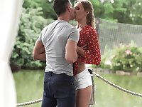 Blonde sweetie Oxana Chic spends the afternoon making love outside