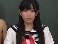 Japanese Schoolgirl Serves Horny Guys