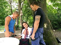 MMF threesome in outdoors with pussy and ass fucking for Anita Bellini