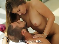 Stripping naughty fantastic babe Dani Daniels seduces neighbor for sex